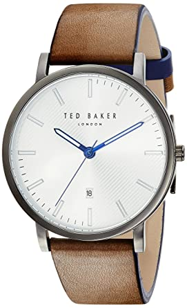 440671f93661 Ted Baker Men s Dean Stainless Steel Quartz Watch with Leather Calfskin  Strap