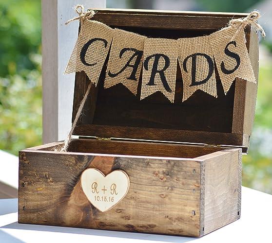 Amazon Com Rustic Card Box Burlap Wedding Gift Card Holder