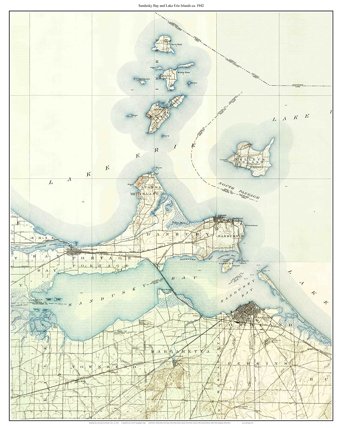 Amazon.com: Sandusky Bay and the Lake Erie Islands 1942 Old ... on broadview heights map, marlette map, cedar point map, davison township map, masury map, burney map, rose city map, luna pier map, south vienna map, holmes map, new phila map, elida map, pickerington map, ohio map, st. ignace map, salem center map, jones valley map, west geauga map, cedartown map, blacklick map,