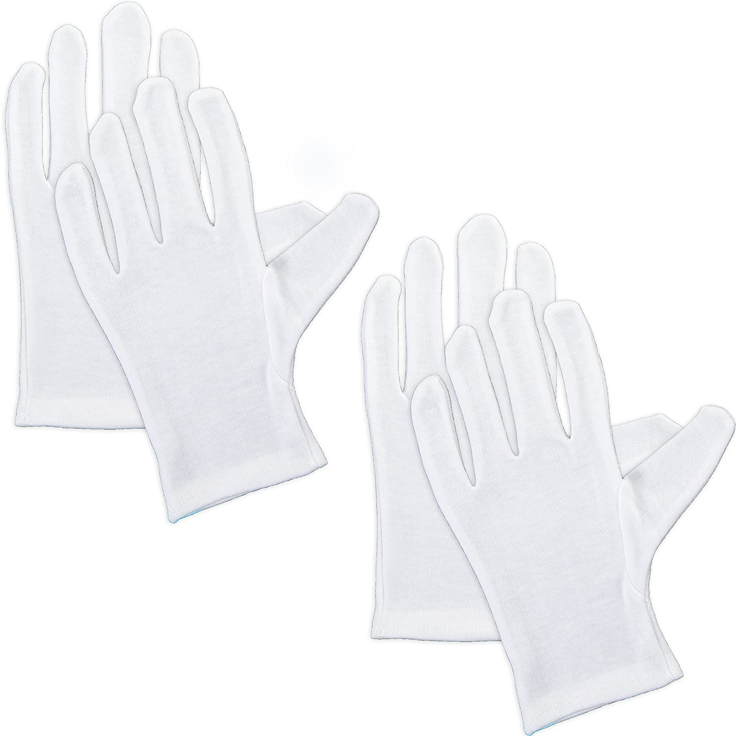 2x Pairs Of Moisture Retaining Gloves | For Overnight Hand Cream/Masks &Treatments White Hinge