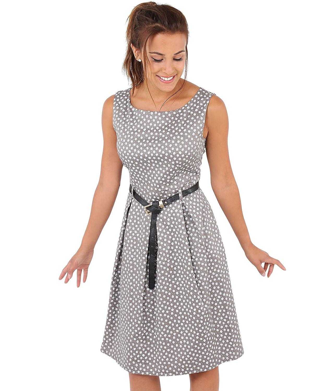 KRISP Damen Vintage Kleid Blümchen Swing Midi Knielang