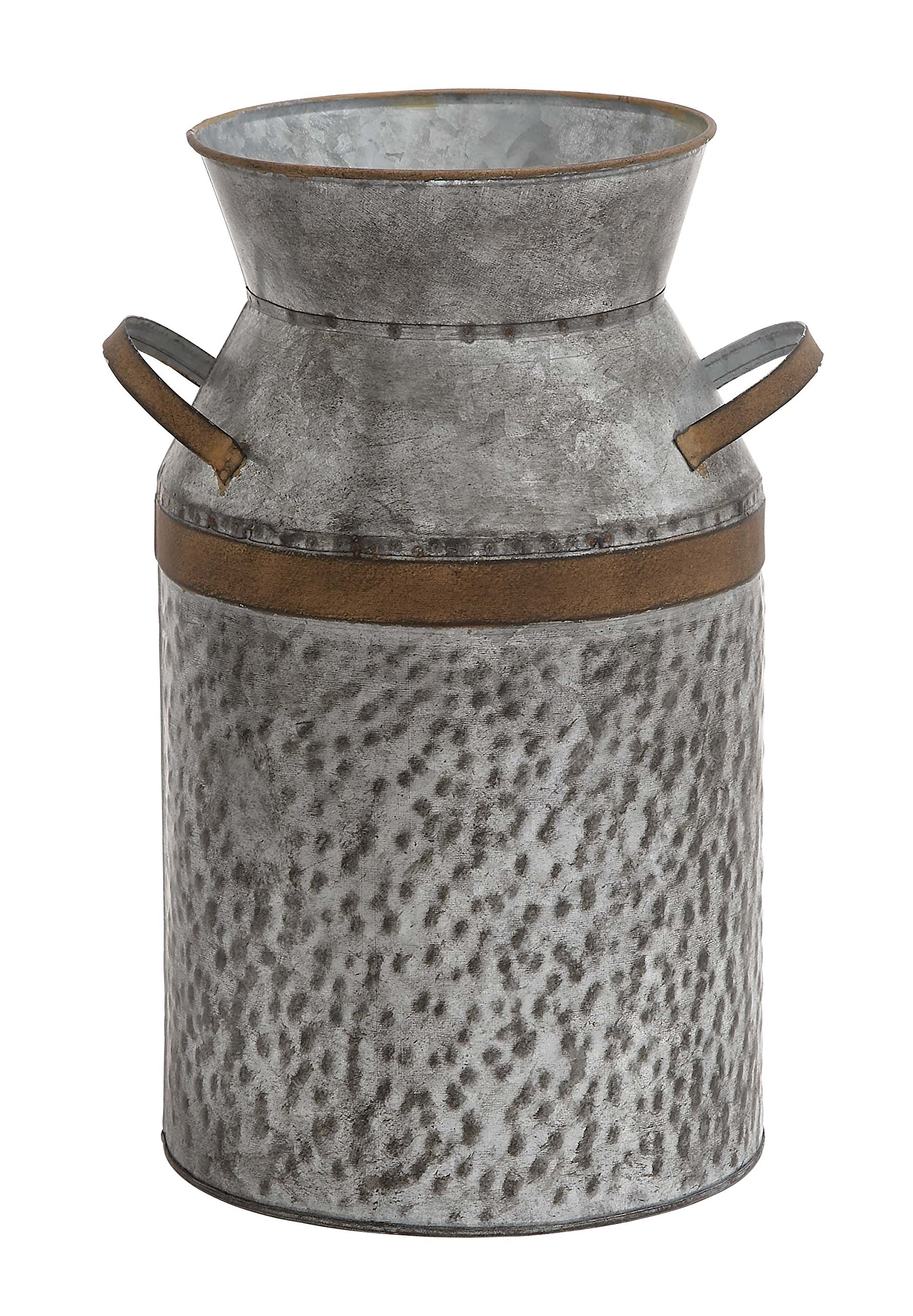 Deco 79 93992 Metal Galvanized Milk Can 10'' W, 14'' H -