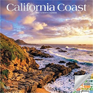 California Coast Calendar 2021 Bundle - Deluxe 2021 California Wall Calendar with Over 100 Calendar Stickers (California Nature Coast Gifts, Office Supplies)