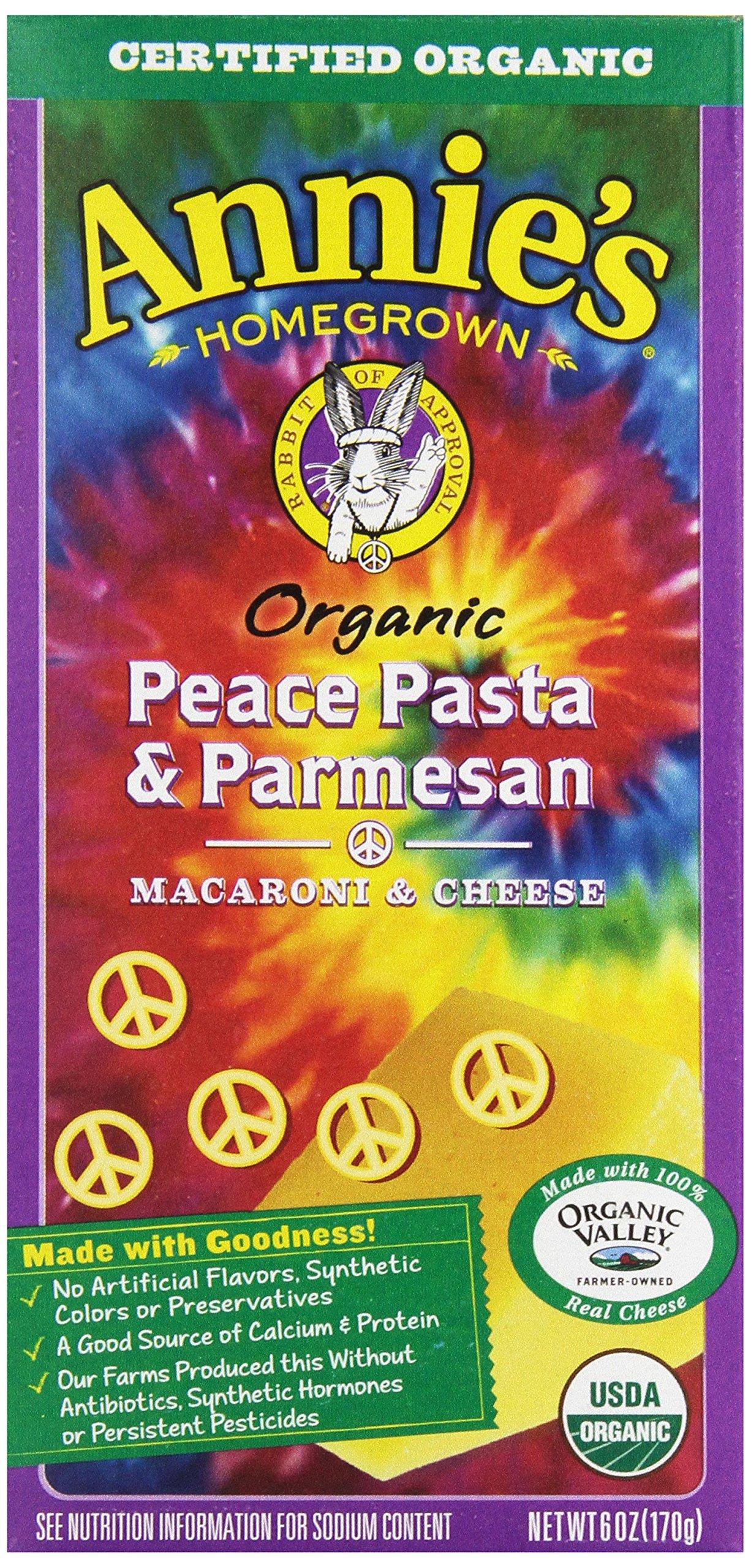ANNIES HOMEGROWN PASTA PEACE & PARMS, 6 OZ