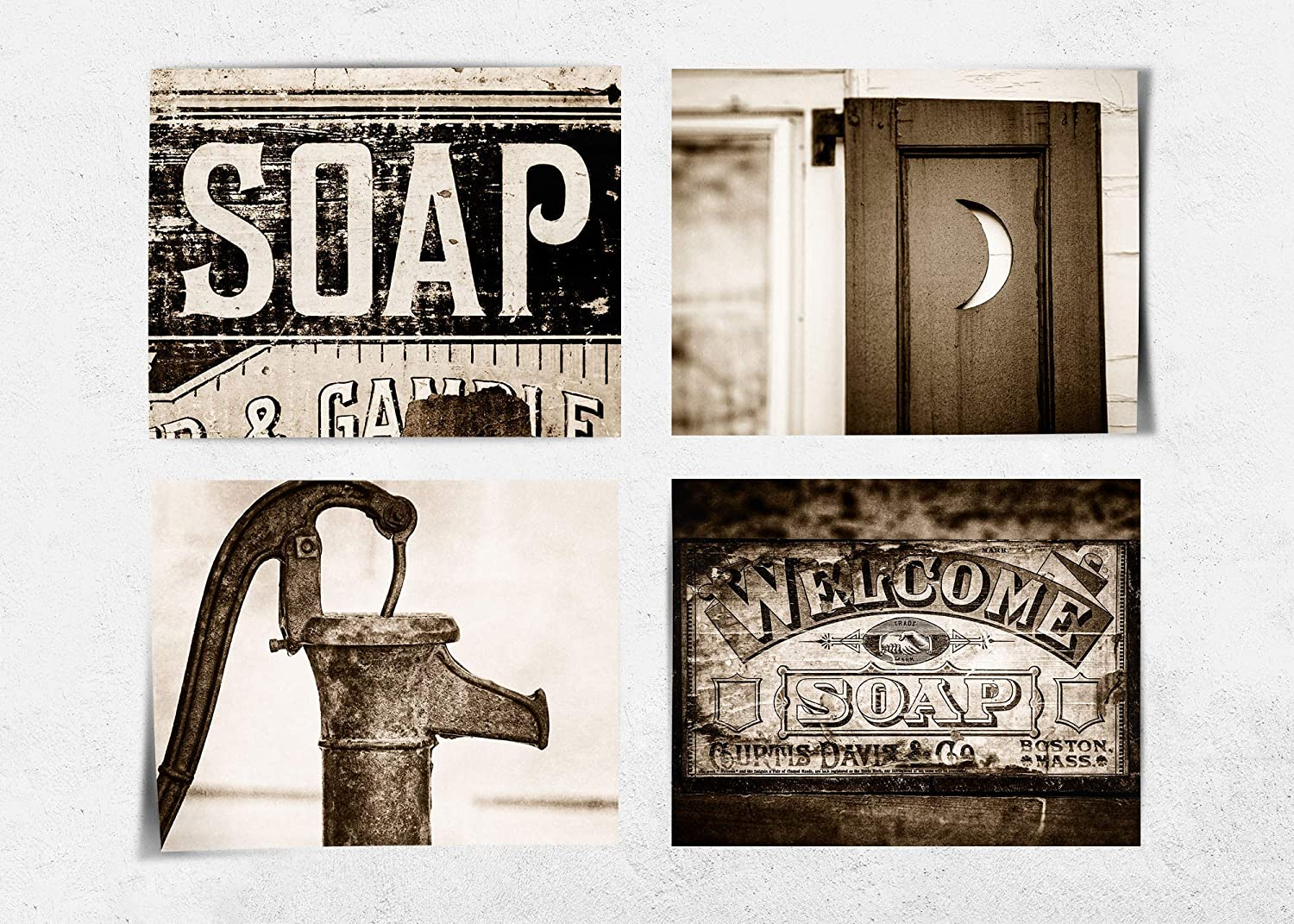 Amazon Com Sepia Farmhouse Bathroom Wall Decor Set Of 4 8x10 Prints Not Framed Rustic Vintage Sepia Laundry Room Art Fba410 Handmade