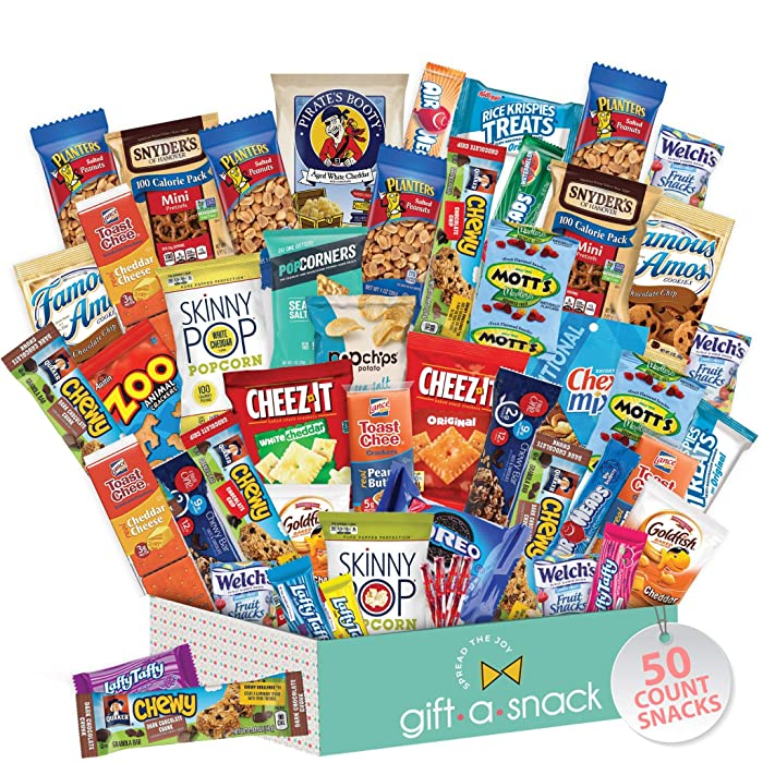 Healthy Snack Box Variety Pack (50 Count) Gift Basket - College Student Care Package, Natural Food Bars Nut Fruit, Nutritious Chips - Ultimate Birthday Treat for Women, Men, Adults, Teens, Kids