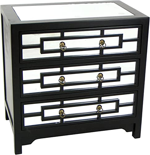 Wayborn Home Furnishing Tanner Mirror Chest, Black