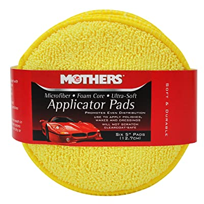 Mothers 156801 Yellow Microfiber Ultra Soft Applicator and Cleaning Pads (Six 5 Inch Pads): Automotive