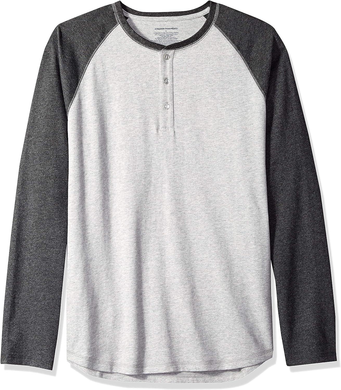 Essentials Mens Regular-Fit Long-Sleeve Baseball Henley Shirt