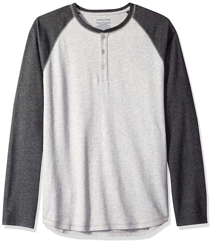 stile Henley Maglietta a maniche lunghe da uomo Essentials vestibilit/à standard