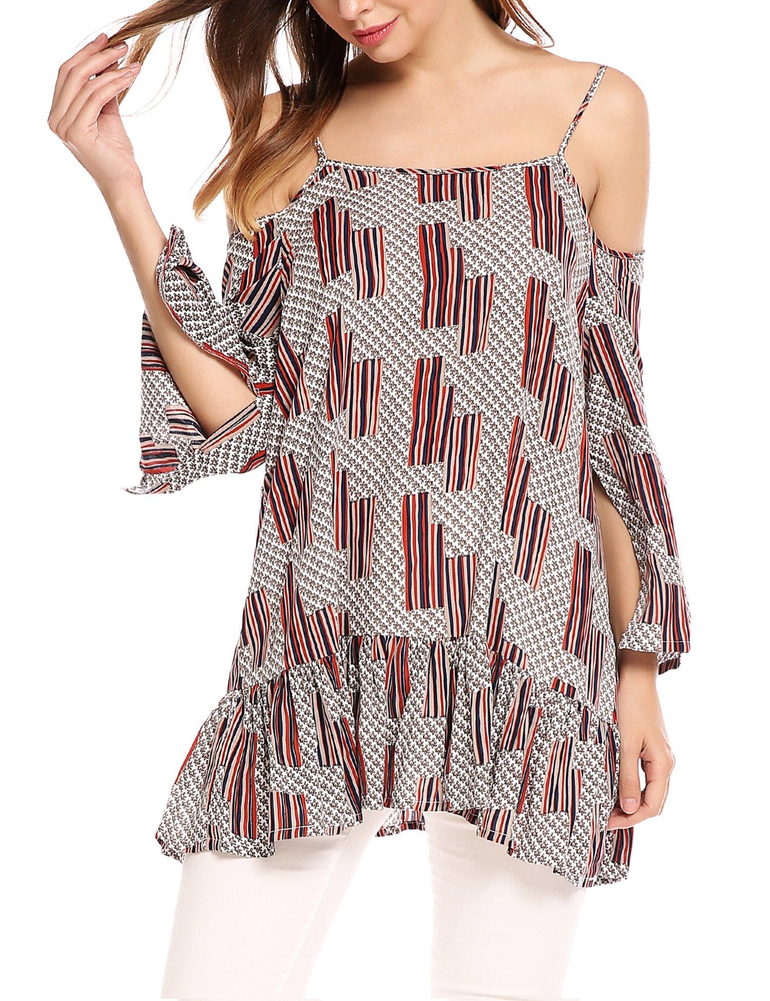 Zeagoo Women Summer Chiffon Cut Out Cold Shoulder Peplum Tops Spaghetti Strap 3/4 Slit Sleeve Ruffled Print Blouse Top