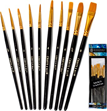 Crafts 4 All Paint Brushes Set 10 Pieces Professional Fine Tip Paint Brush Set Round Pointed Tip Nylon Hair Artist Acrylic Paints Brush For Watercolor