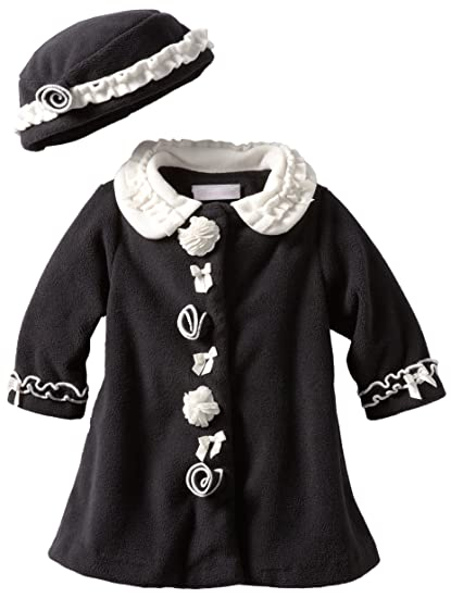 134d7e0ea39ee Amazon.com: Bonnie Baby Girls' Fleece Coat Set, Black, 12 Months: Infant  And Toddler Coats: Clothing