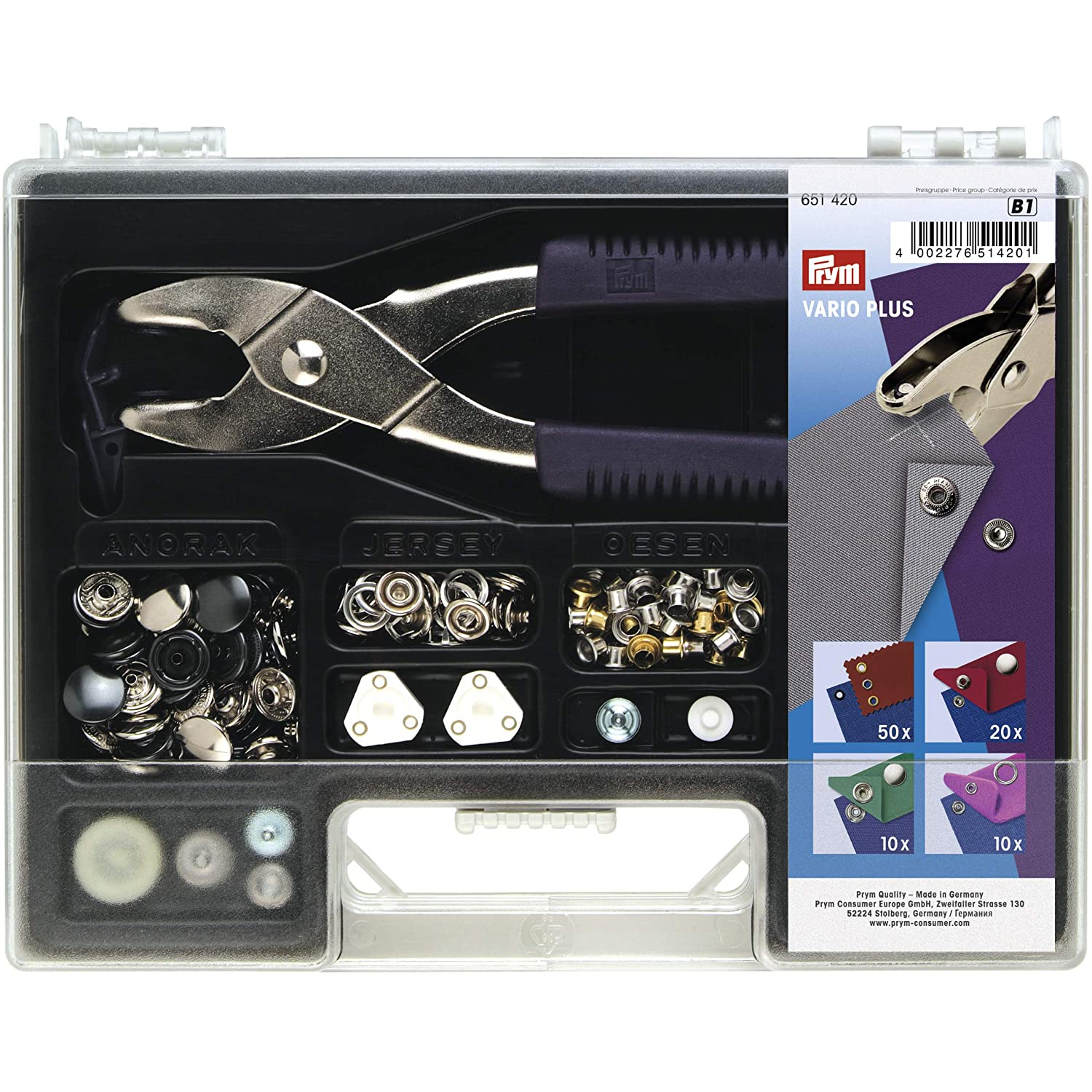 Prym Color Snaps Tools Set 673115 for Vario Plier Craft Sewing