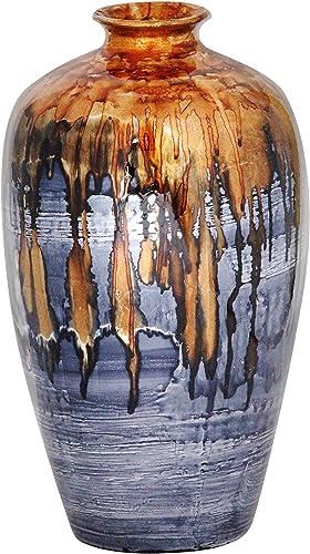 Heather Ann Creations Ruth Ceramic Decorative Water Jar Floor Vase, Bronze Blue White