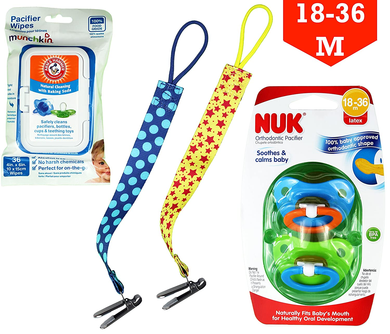 Amazon.com : NUK Orthodontic Pacifiers (18-36 m) + Arm ...