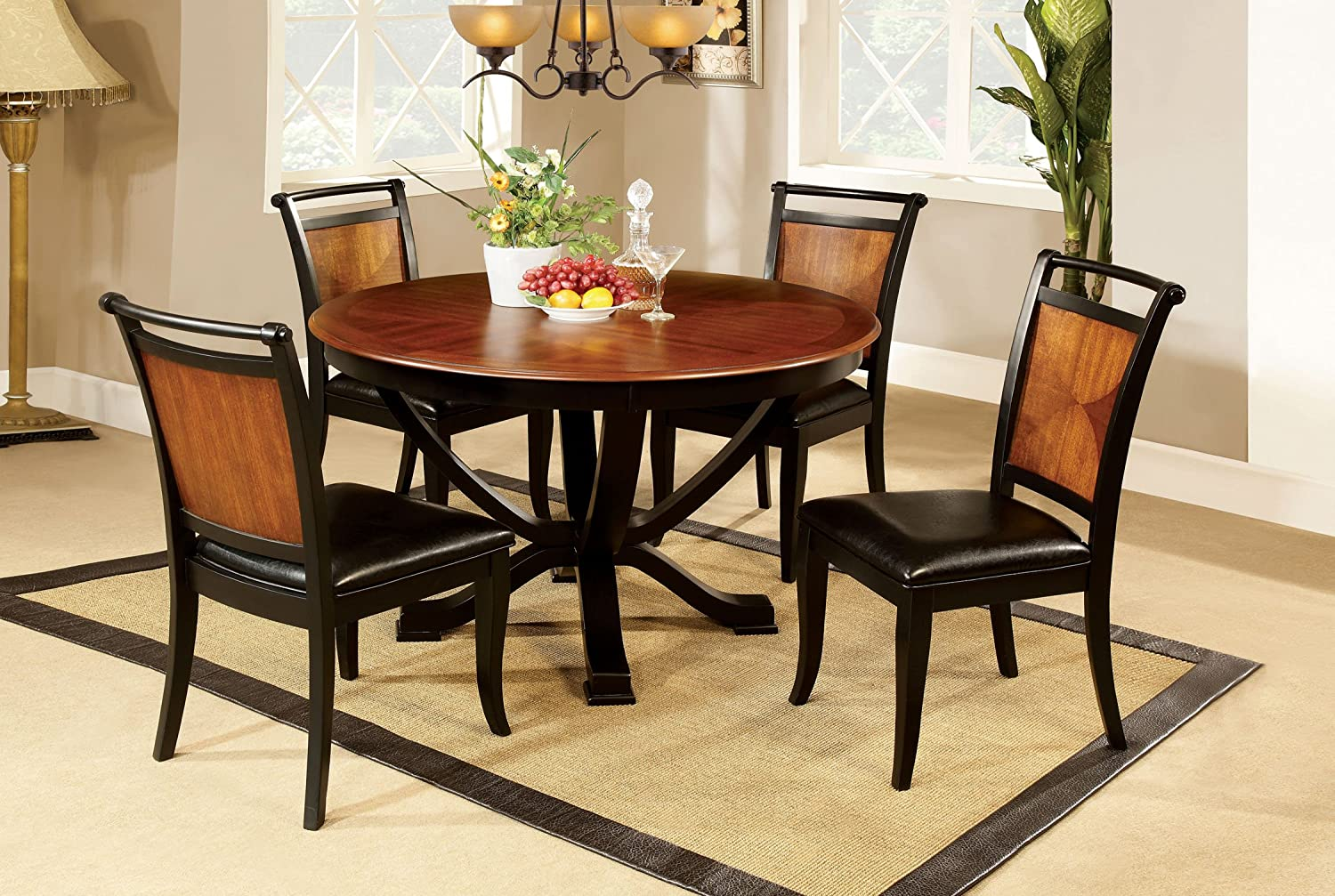 Amazon.com   Furniture Of America Sahrifa 5 Piece Duotone Round Dining  Table Set, Acacia And Black Finish   Table U0026 Chair Sets