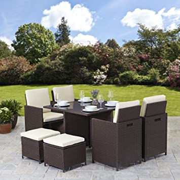 Rattan Muebles de jardín Cubo Set 8 plazas al aire libre 9pcs mimbre ...