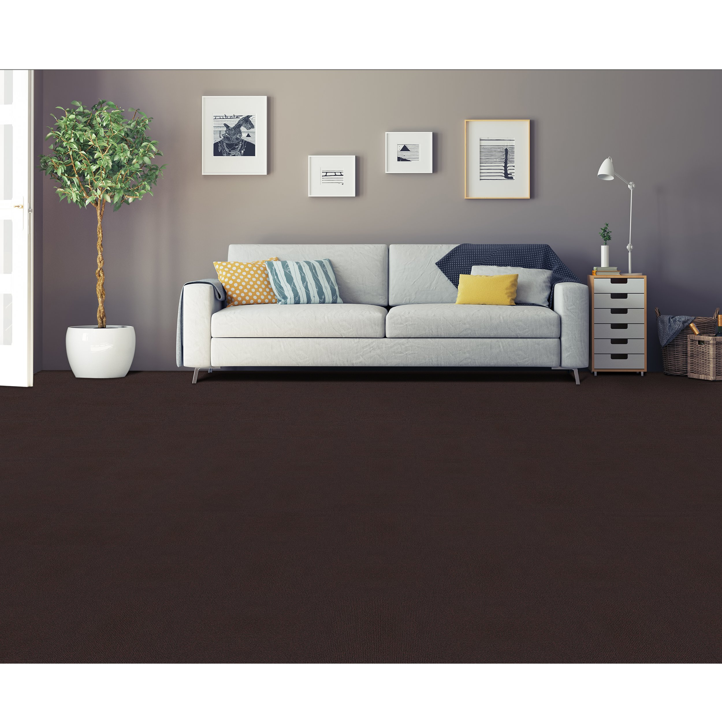 Achim Imports NXCRPTBR12 Home Furnishings Nexus 12x12 Self Adhesive Carpet Floor Tile, 12 Tiles/12 sq. Ft, Brown