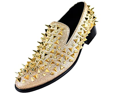c8b97c94ab Bolano Men's Glitter Faux Suede Spiked and Studded Smoking Slipper, Slip On  Dress Shoe