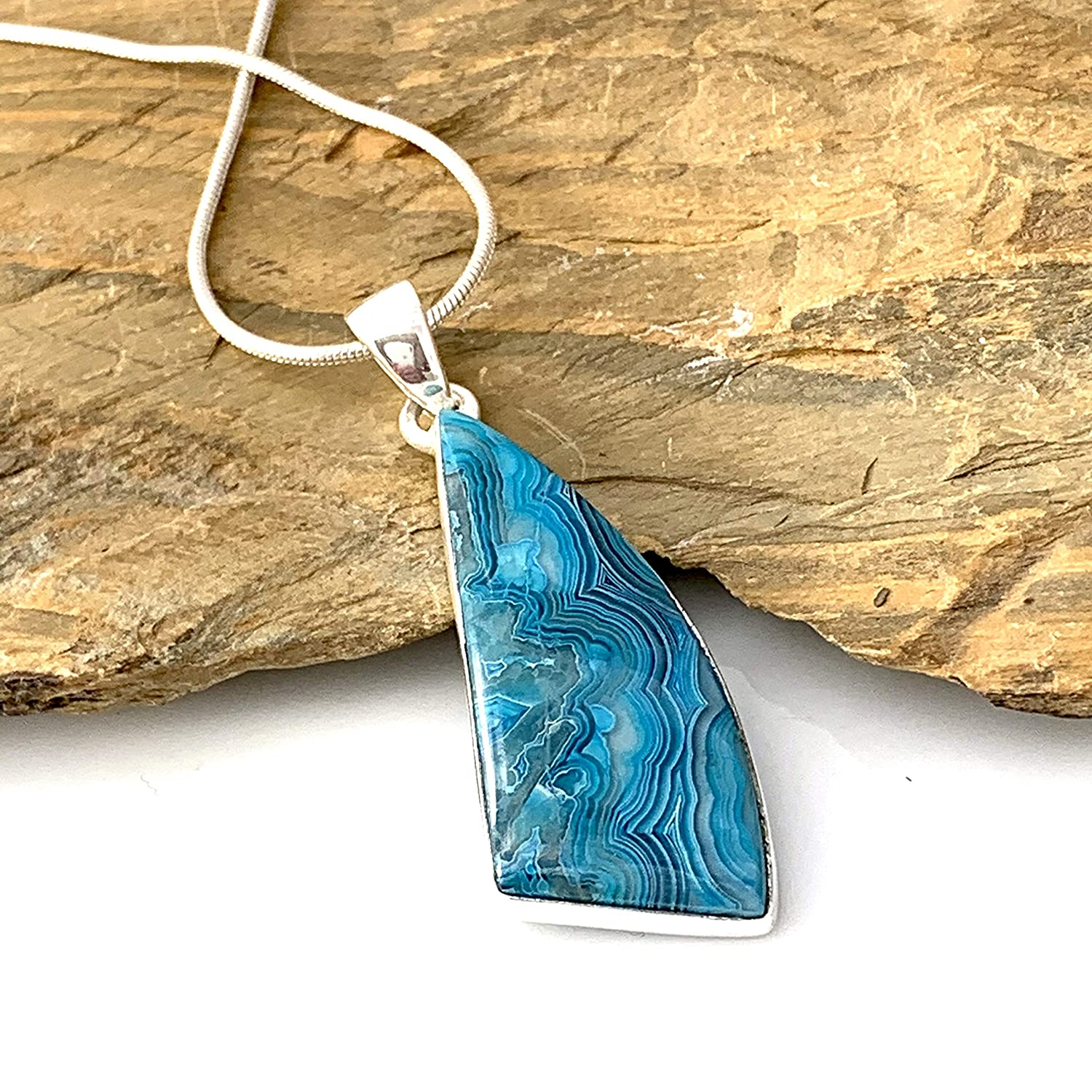 Mexican Laguna Crazy Lace Agate Gemstone Sterling Silver Pendant