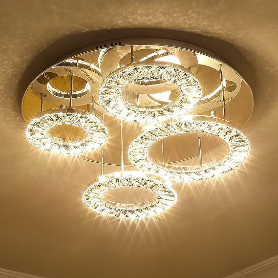 Saint Mossi Modern K9 Crystal Led 4 Ring Chandelier Lighting Flush Mount Ceiling Light Fixture Lamp Dining Room Bathroom Bedroom Livingroom Height 8 X