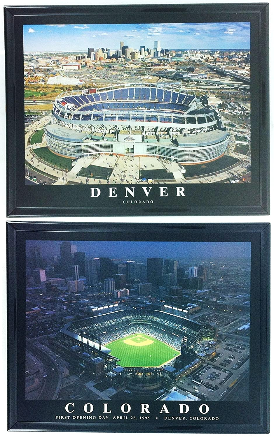 Denver Broncos Sports Authority Field at Mile High /& Rockies Coors Field Framed Aerial Photos