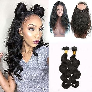 Shengji Hair Pre Plucked 360 Lace Front Closure with Bundles for Black Women  Brazilian Virgin Human 6d7d5ff4b