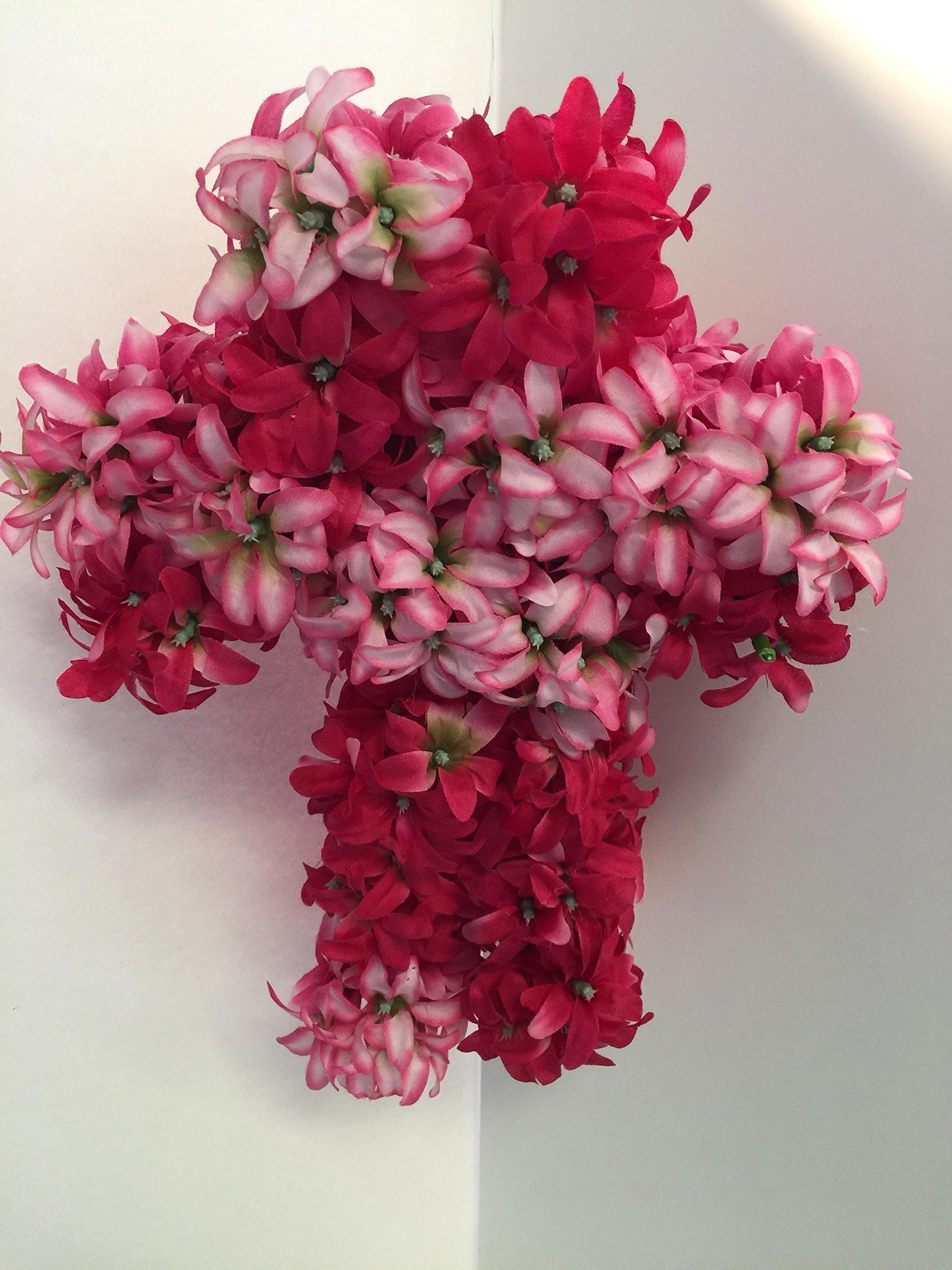 Large Cross Wall Decor - Pink/White Hyacinths