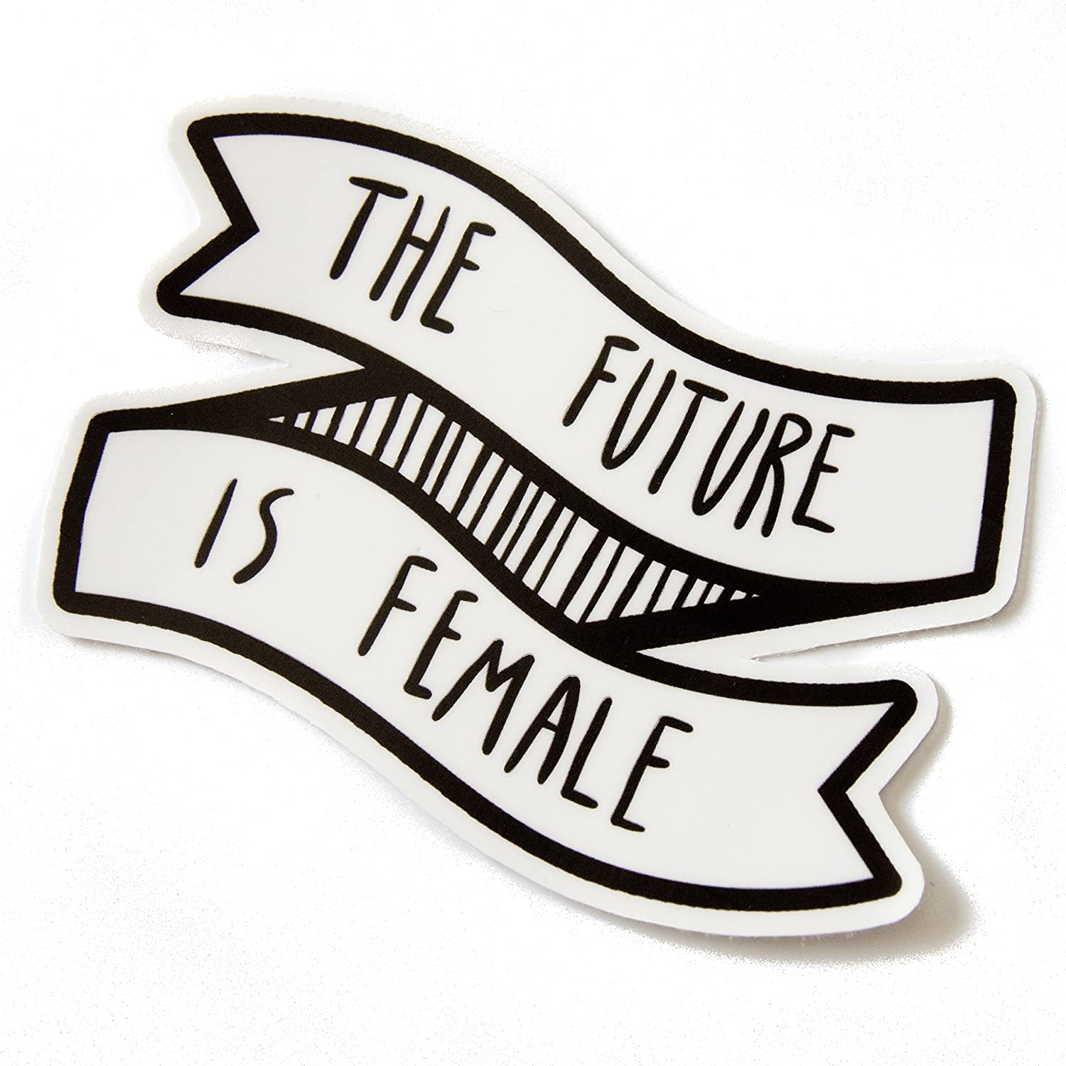 The Future Is Female Waterproof Vinyl Sticker of a Black and White Banner with Feminist Quote