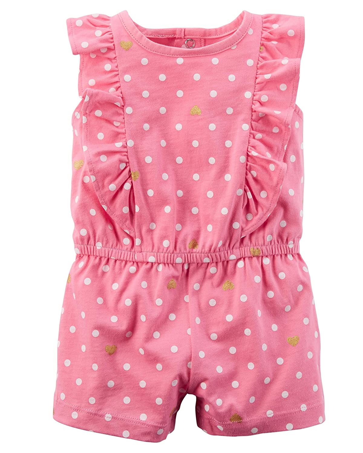 Carters Baby Girls Polka Dot Heart Print Romper