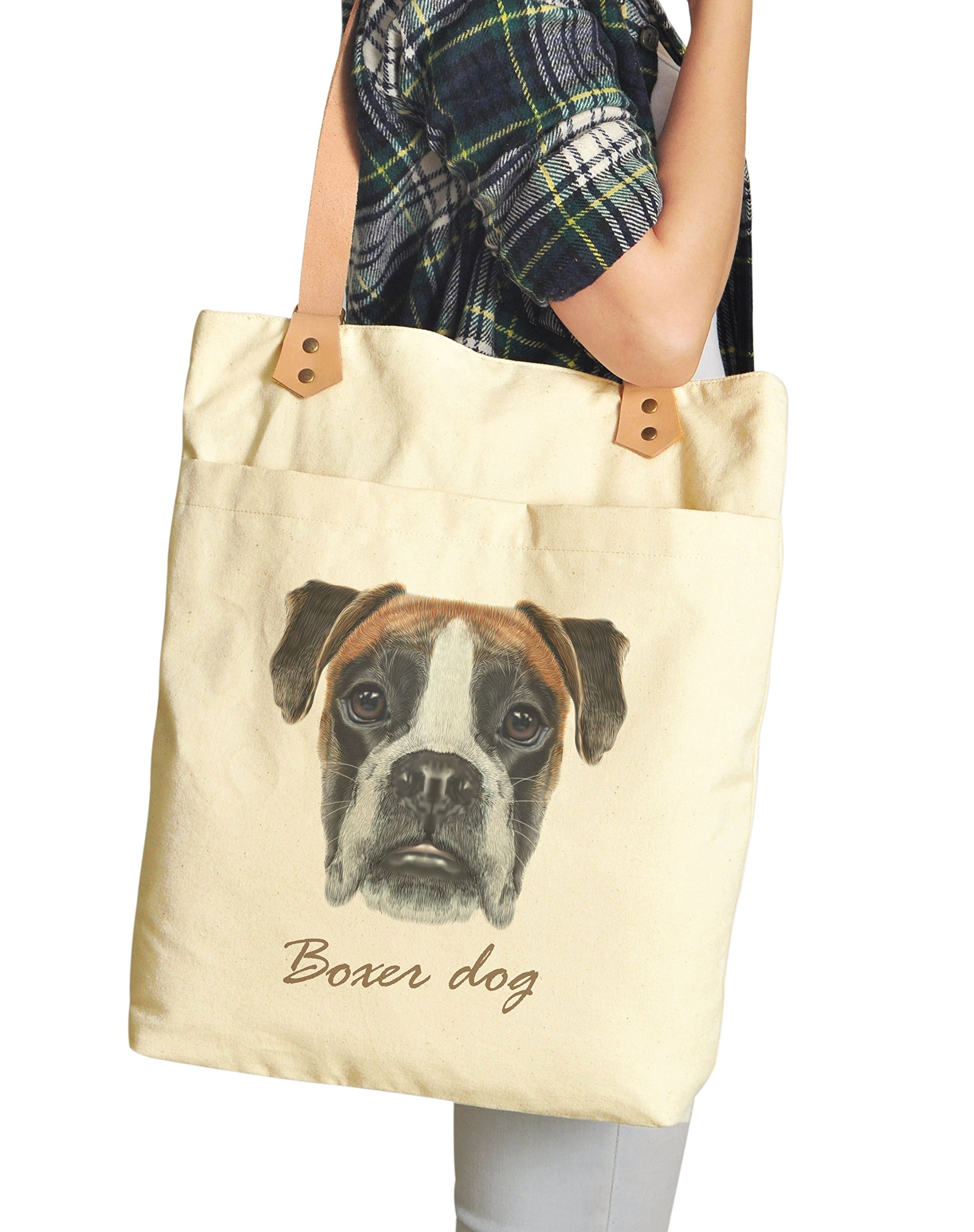 Boxer Dog Portrait Print Cotton Canvas Leather Straps Laptop Backpack WAS_34 by VietsWay (Image #2)