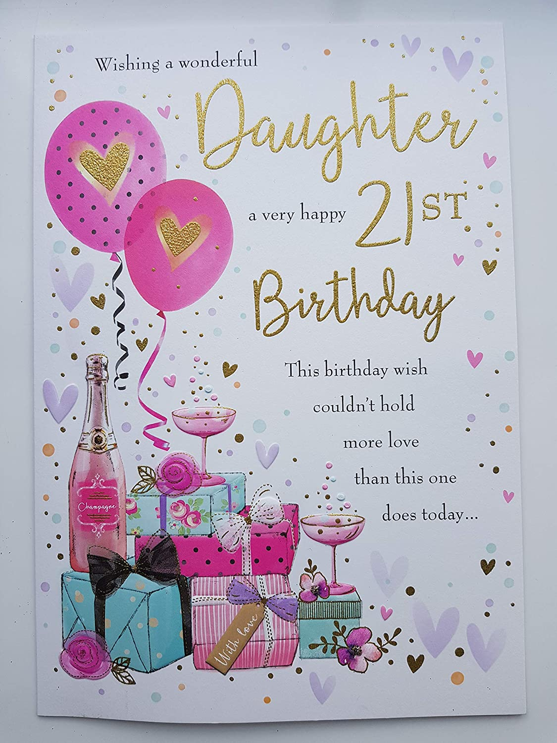 Large Daughter 21st Birthday Card Quality Nice Verse Champagne Amazon Co Uk Kitchen Home
