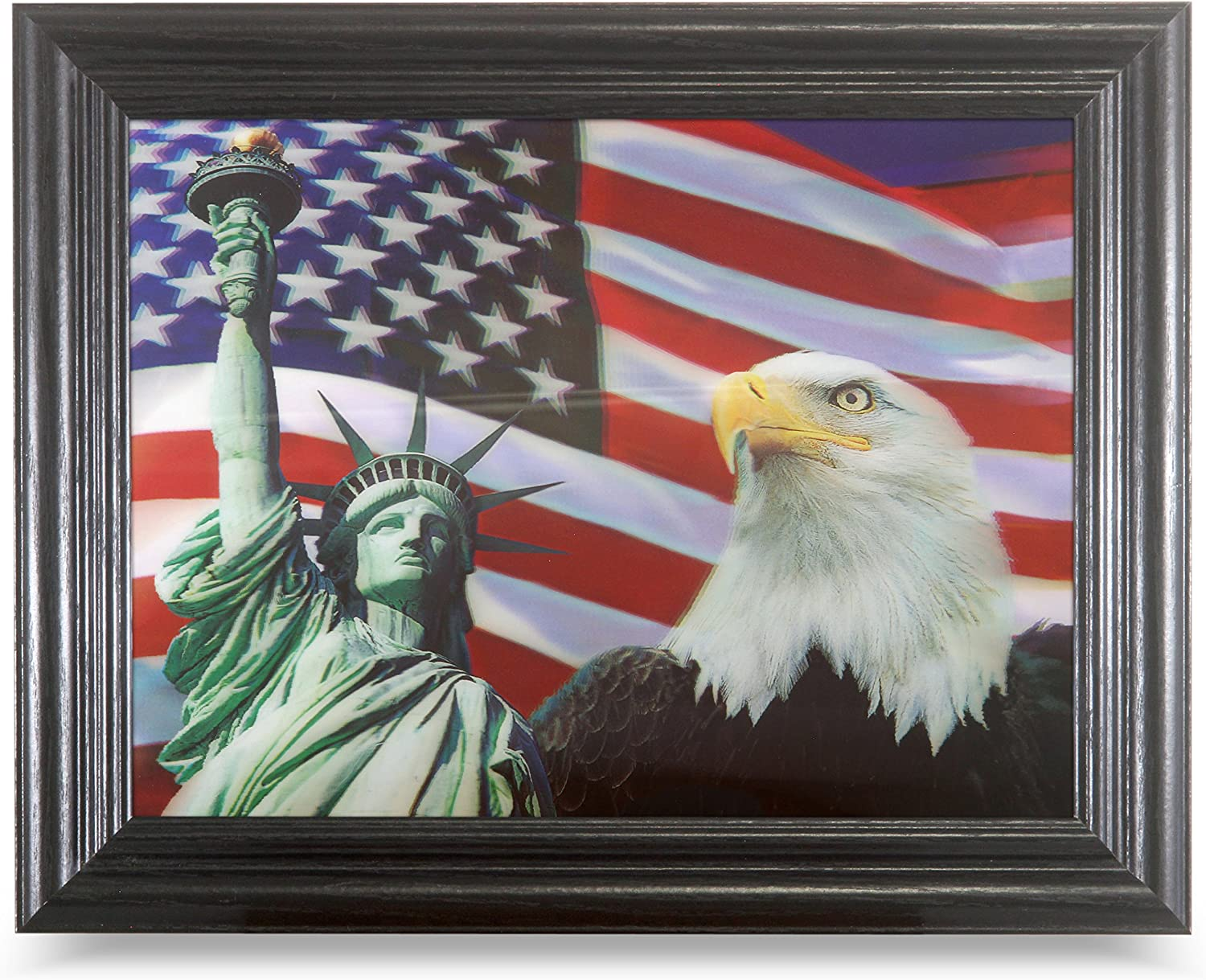 Those Flipping Pictures American Pride 3D Framed Wall Art-Lenticular Technology Causes The Artwork to Have Depth and Move-Hologram Style Images-Holographic Optical Illusions