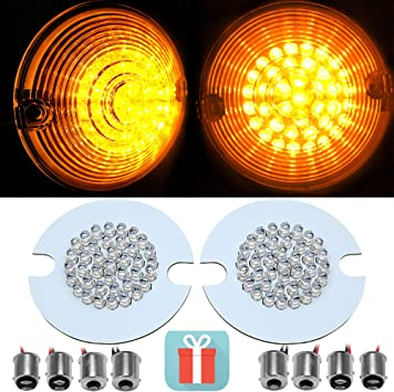 4X Bullet 1156//1157 White Amber Yellow LED Turn Signal Light Inserts For Harley