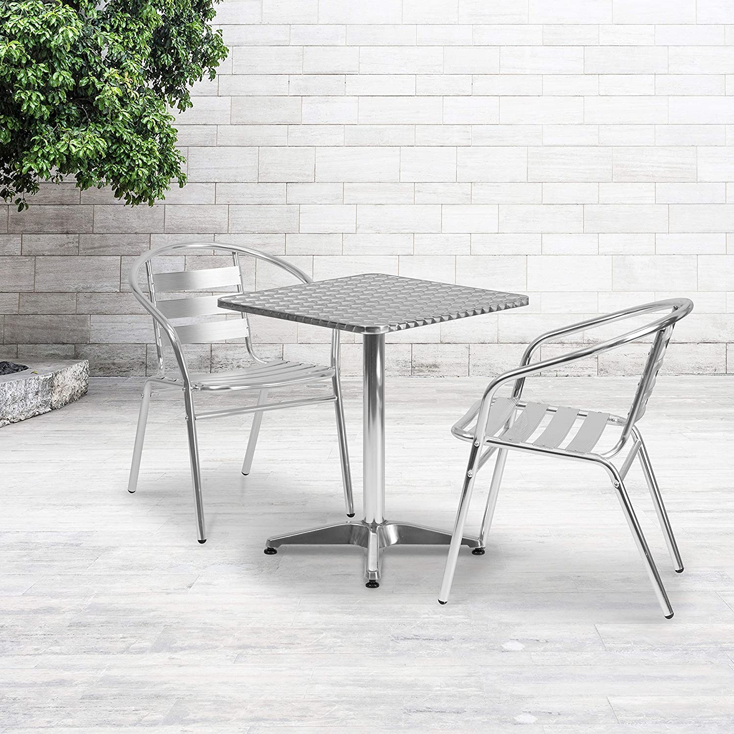 Flash Furniture 23.5'' Square Aluminum Indoor-Outdoor Table Set with 2 Slat Back Chairs