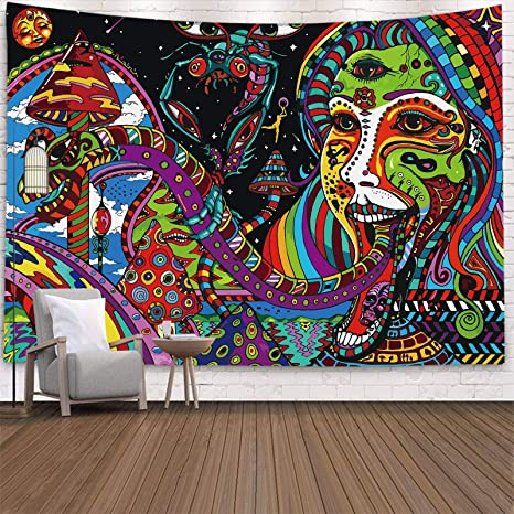 Psychedelic Lotus Tapestry Household Mural Wall Hanging Art Hippie Home Decor