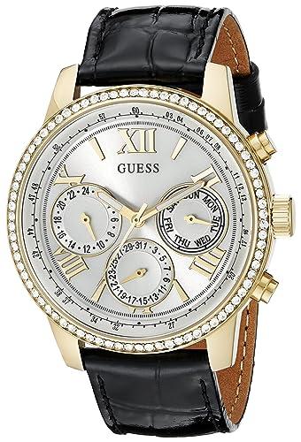 bf35c93a1e1c Guess Mujer u0643l2 Classic Negro y de Tono Dorado multifunción Reloj con Genuino  Cristales  Amazon.es  Relojes
