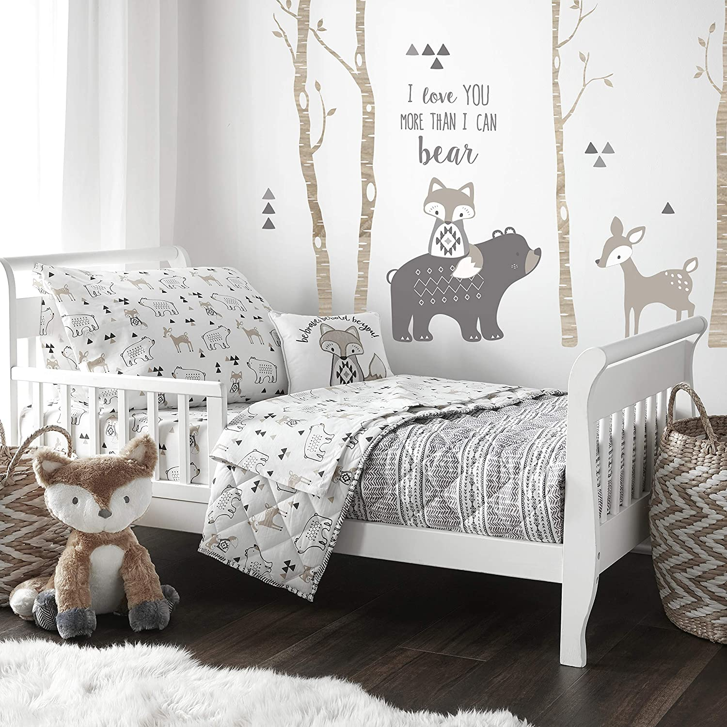 Amazon Com Levtex Baby Bailey Toddler Bed Set Charcoal Grey White Taupe Woodland 5 Piece Set Includes Reversible Quilt Fitted Sheet Flat Sheet Pillow Case Decorative Pilow Baby