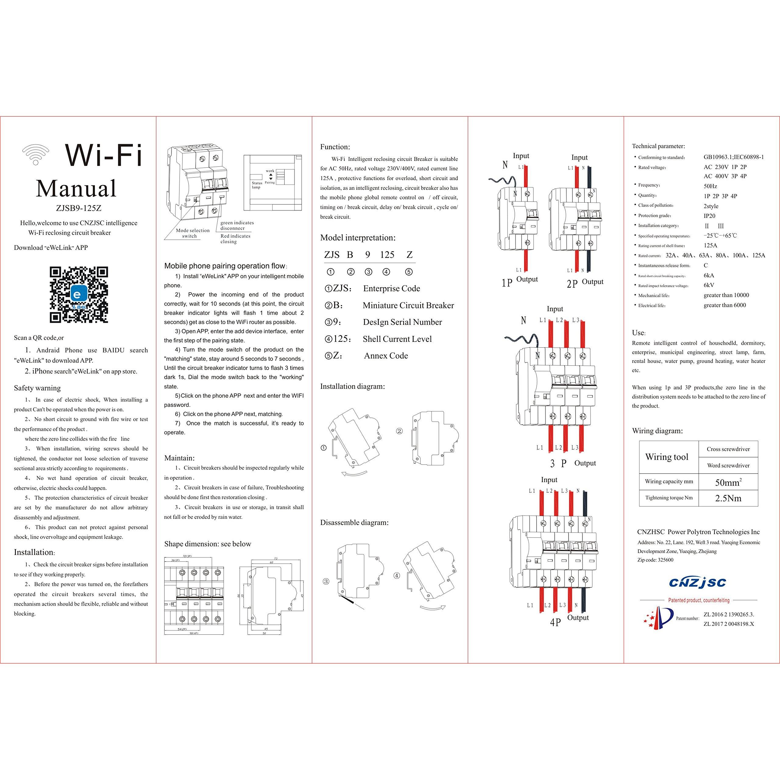 CNZJSC Wifi Smart Circuit Breakers (4P)