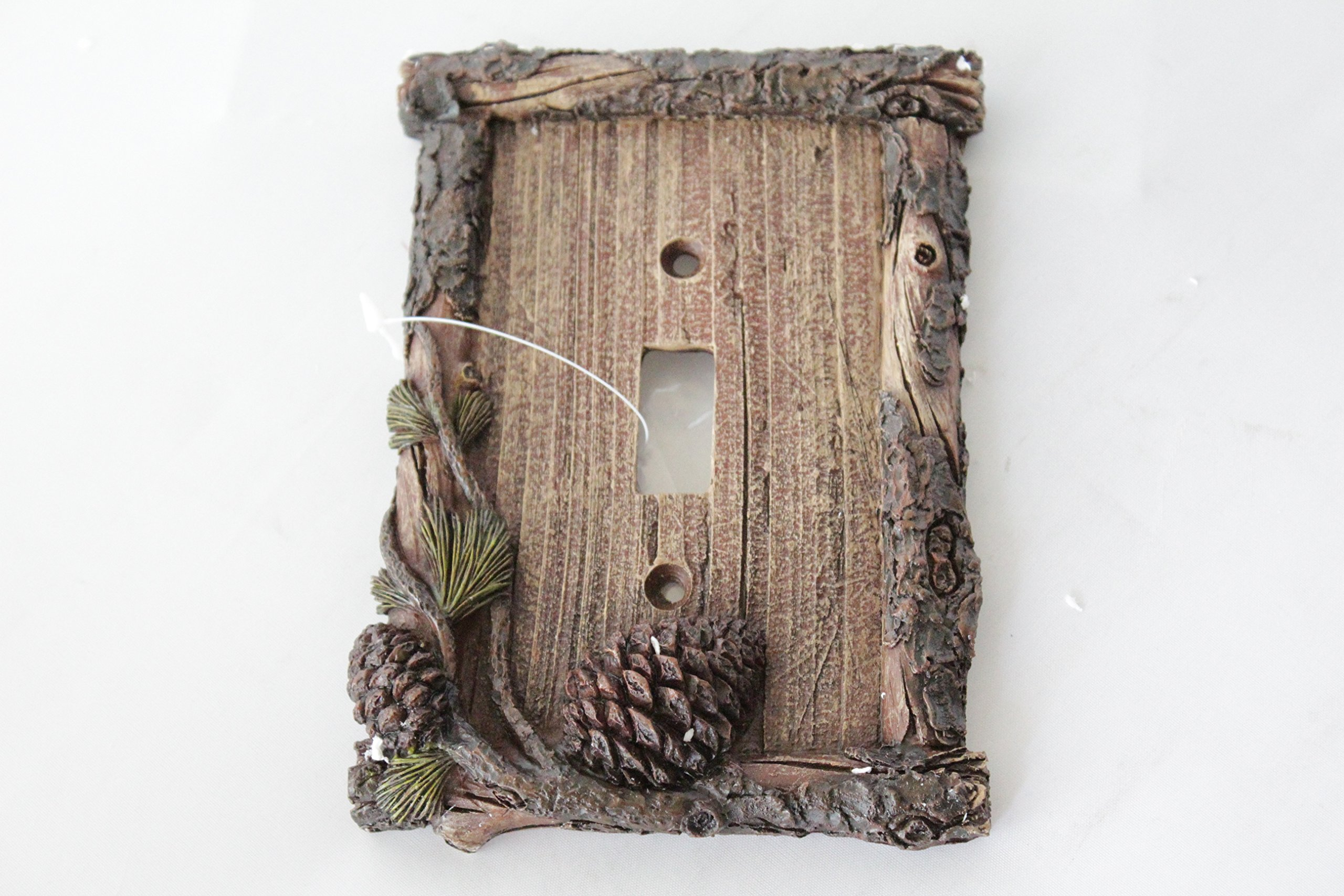 Pine Cone Switch Rocker Plate Covers Electric Outlet Plate Pine Wood Cabin Lodge Decor (single switch)