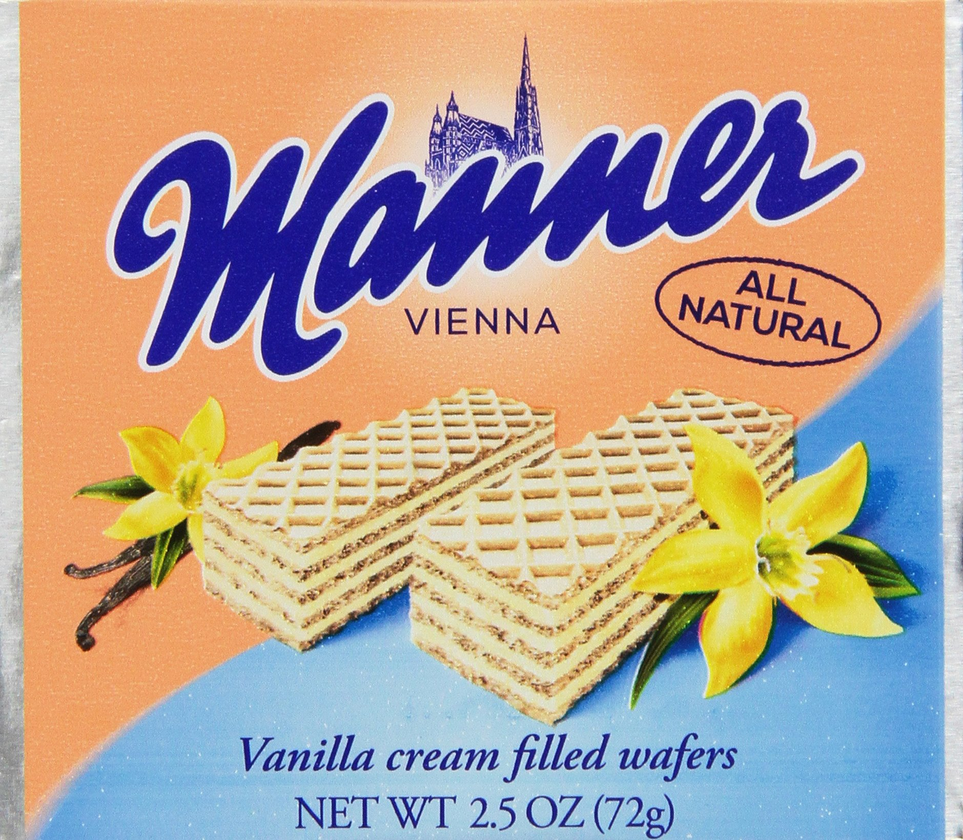 Manner Wafers Vanilla Pocket Pack, 2.54-Ounce (Pack of 12) by Manner