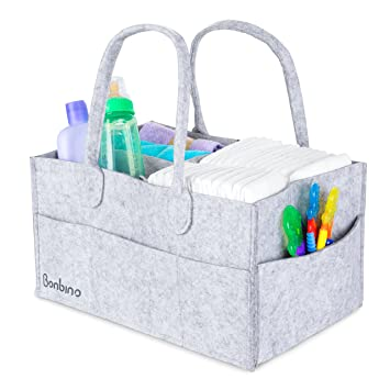 Amazon.com : Baby Diaper Caddy by Bonbino - Luxury Portable Diaper ...