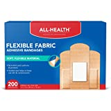 All Health Flexible Fabric Adhesive Bandages, Assorted Sizes Variety Pack, 200 ct | Flexible Protection for First Aid…