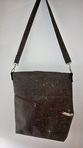 Ausgefallener Damen Shopper Handtasche Leder Glimmer Schoko Braun