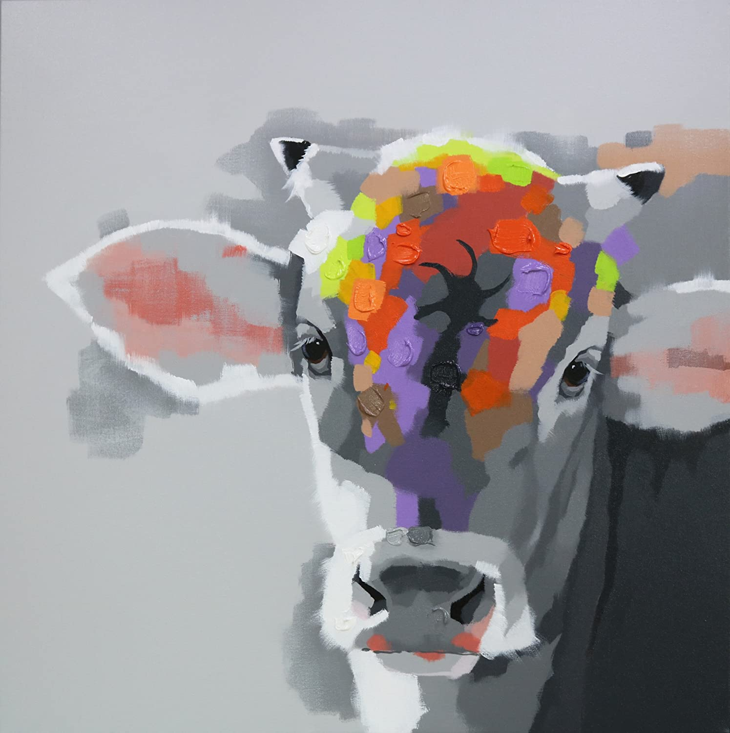 "Bignut-Art 100% Hand painted Animals Wall Art Painting on Canvas Beauty Contest Cow for Home Decor (36""x36""Cow) 1 Piece Stretched and Framed Ready to Hang"