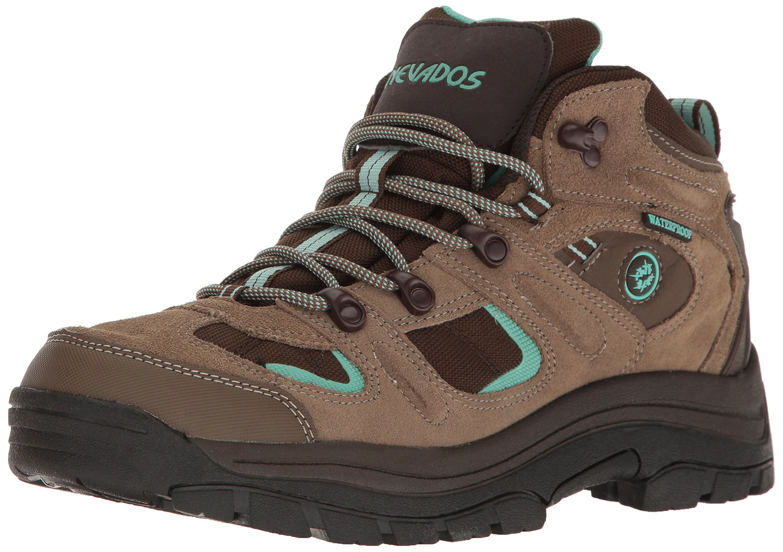 Nevados Women's Klondike Mid Waterproof Hiking Boot,Shiitake Brown/Dark Chestnut/Vivid Aqua,9 M US by Nevados