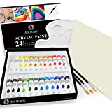 Acrylic Paint Set by AEM Hi Arts - Complete Art Kit Includes 24 Paint Colors, Brushes, Canvas, and Palette - Acrylics are for Beginners, Students and Professionals Wanting Non Toxic and Vibrant Colors