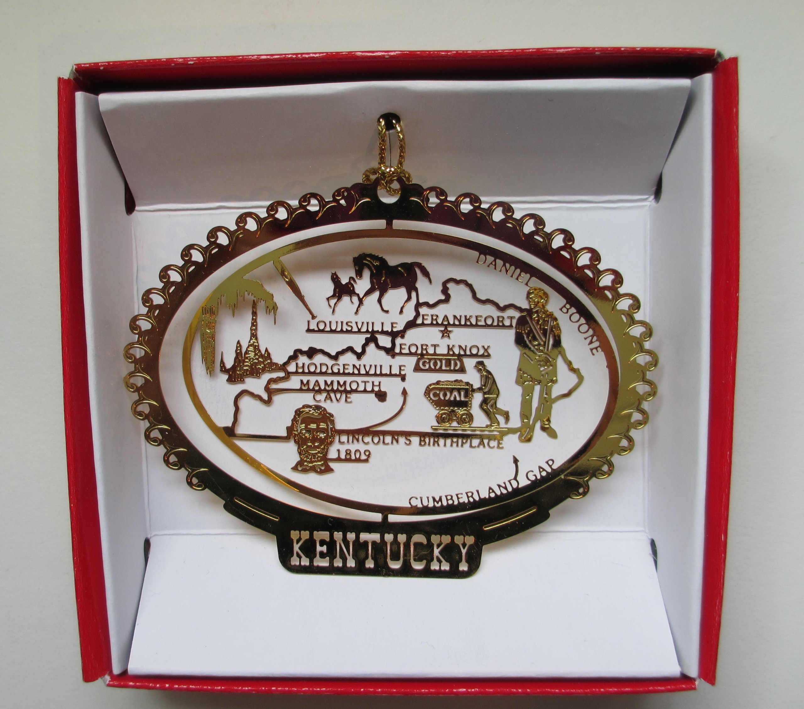 Kentucky State Brass Christmas ORNAMENT Souvenir Gift by Nations Treasures