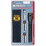 Maglite Mini Incandescent 2-Cell AA Flashlight with Holster, Black